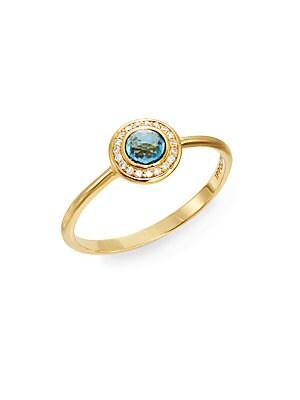Lollipop London Blue Topaz, Diamond & 18K Yellow Gold Mini Ring