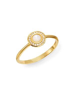 Lollipop Mother-Of-Pearl, Diamond & 18K Yellow Gold Mini Ring