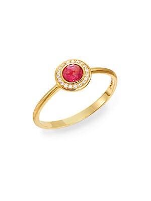 Lollipop Diamond, Pink Tourmaline & 18K Yellow Gold Ring