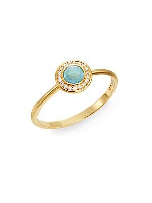 Lollipop Turquoise, Diamond & 18K Yellow Gold Mini Ring