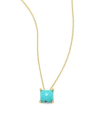 Rock Candy Turquoise & 18K Yellow Gold Pendant Necklace