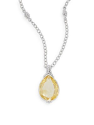 Bermuda Canary Crystal & Sterling Silver Teardrop Pendant Necklace