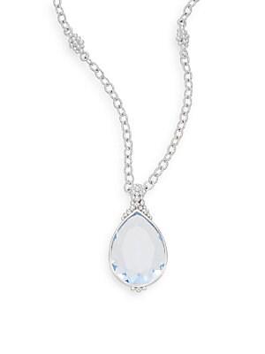 Bermuda Blue Quartz & Sterling Silver Teardrop Pendant Necklace
