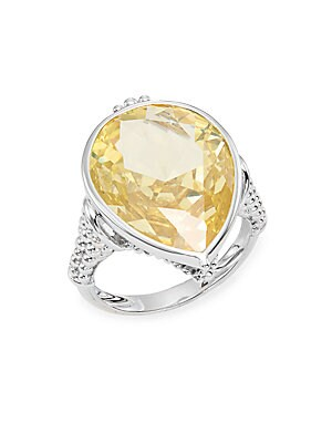 Bermuda Canary Crystal & Sterling Silver Pear Ring