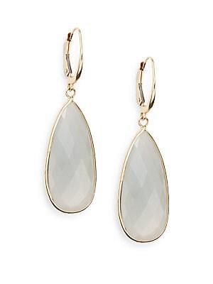 Small Grey Moonstone & 14K Yellow Gold Teardrop Earrings