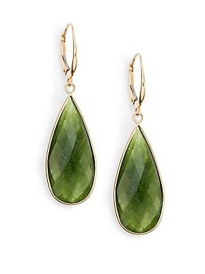 Small Green Quartz & 14K Yellow Gold Teardrop Earrings