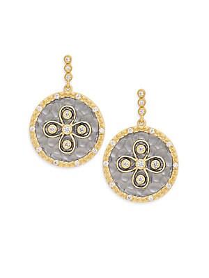 Metropolitan Hammered Floral Drop Earrings