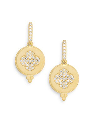 Pavé & 14K Yellow Gold Vermeil Clover Drop Earrings