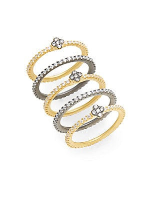 Pavé Clover Bezel Stacking Rings Set