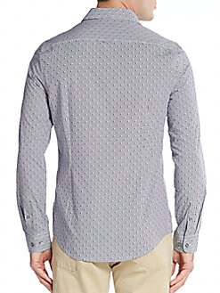 Slim-Fit Mini Dobby Print Cotton Sportshirt