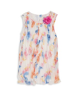 Little Girl's Floral Print Pleated Shift Dress