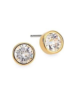 Crystal Bezel Stud Earrings/Goldtone