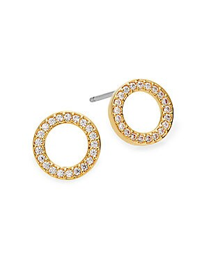 Pavé Circle Stud Earrings/Goldtone