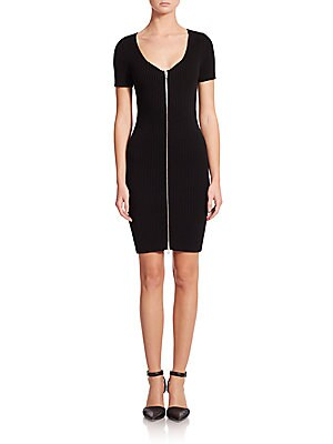 Ribbed Zip-Front Dress