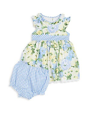 Baby's Floral-Print Dress & Gingham Bloomers Set
