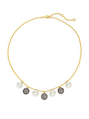 10MM White Round Pearl Pavé Charm Necklace