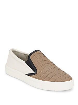 Banler Crocodile-Embossed Leather Slip-On Sneakers