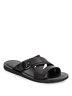 Two-Band Leather Slide Sandals