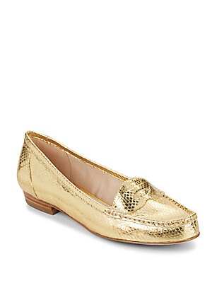 Bitsy Snake-Embossed Metallic Leather Loafers