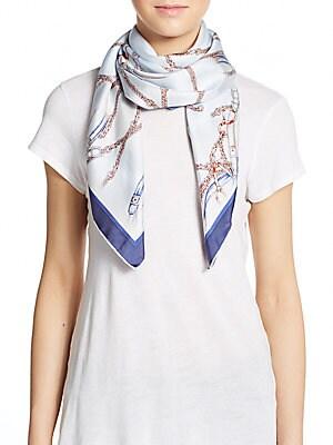 Chain & Pearl-Print Silk Scarf