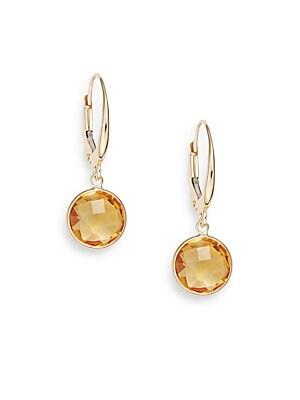 Lollipop Citrine & 14K Yellow Gold Bezel Drop Earrings