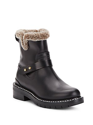 Ashford Leather & Shearling Moto Boots