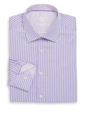 Shaped-Fit Striped Dress Shirt