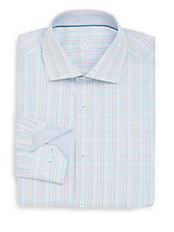 Shaped-Fit Multicolored Check Cotton Dress Shirt