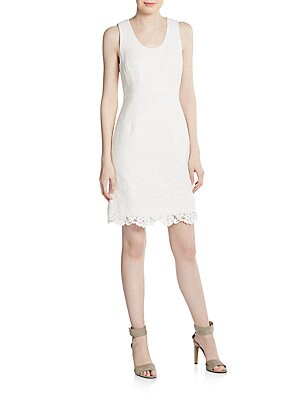 Matelasse Lace-Trimmed Dress