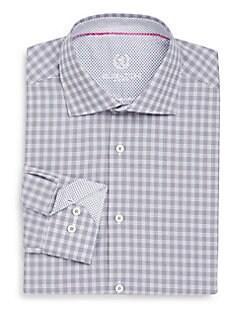 Shaped-Fit Plaid Check Cotton Dress Shirt
