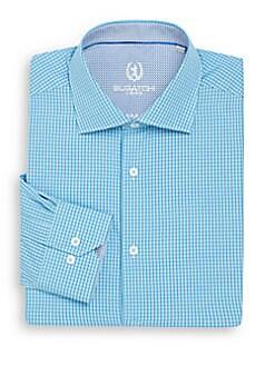 Shaped-Fit Micro Check Cotton Dress Shirt