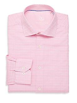 Shaped-Fit Plaid Cotton Dress Shirt