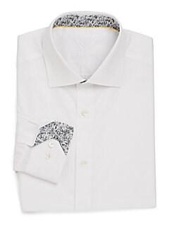 Shaped-Fit Floral-Cuff Cotton Dress Shirt