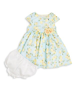 Baby's Lemon-Print Dress & Bloomers