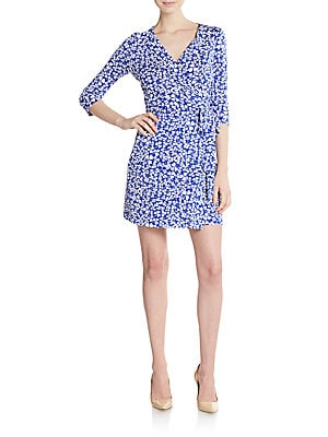 New Julian Clover-Print Cotton & Silk Jersey Wrap Dress