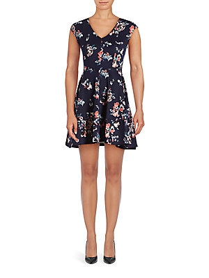 Floral-Print Cap Sleeve Fit-&-Flare Dress