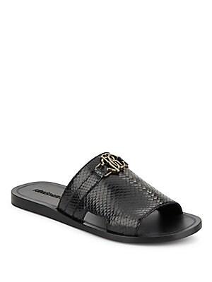 Snake-Embossed Leather Slide Sandals