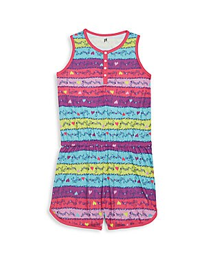Girl's Printed Short Jumpsuit