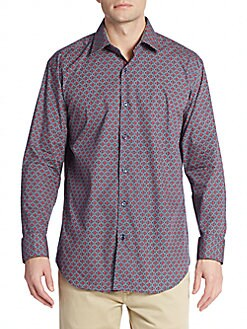 Shaped-Fit Woven Diamond-Print Sportshirt