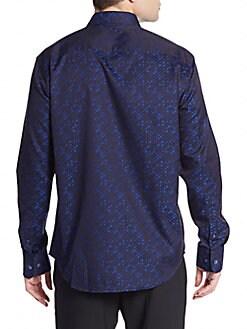 Shaped-Fit Woven Dot-Print Sportshirt