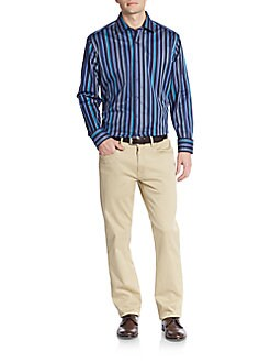 Shaped-Fit Woven Striped Sportshirt