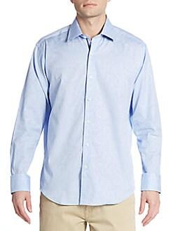 Shaped-Fit Tonal Paisley Cotton Sportshirt