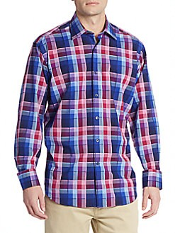 Classic-Fit Check Cotton Sportshirt