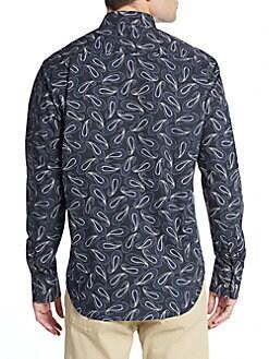 Classic-Fit Paisley-Print Sportshirt