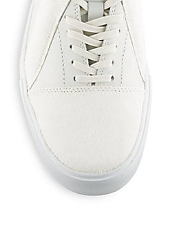 Calf Hair & Leather Lace-Up Sneakers
