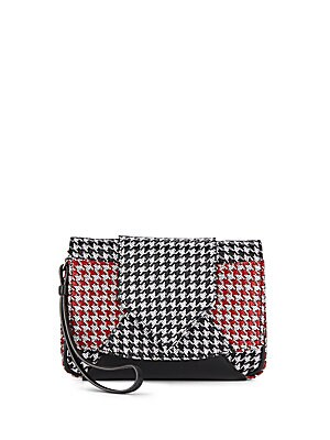 Rocha Houndstooth Leather Clutch