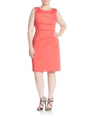 Starburst Seamed Sheath Dress Calvin Klein Plus