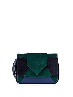 Rocha Velvet & Leather Colorblock Clutch