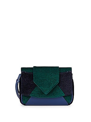 Rocha Velvet & Leather Colorblock Clutch