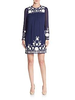 Truman Embroideredy Silk Dress